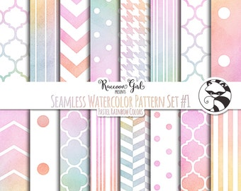 Seamless Watercolor Pattern Set #1 in Pastel Rainbow Colors Digital Paper Set - Personal & Commercial Use