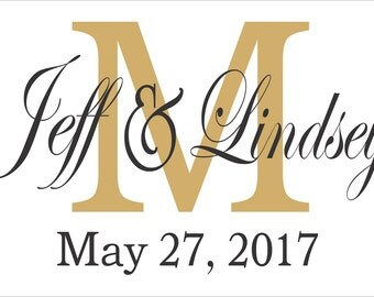 Custom Monogram **Reusable 2 PC STENCIL**- With Initial, Names & Wedding Date-  5 Sizes- Create Custom Wedding Signs Yourself!