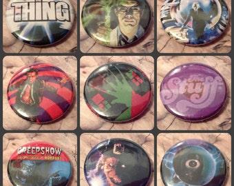 de los años 80 película del horror 1 25mm película del culto Pin botón insignia pesadilla en Elm St Creepshow la cosa re-animator Cronenberg Videodrome carpintero dvd