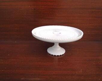 Cake Stand Pedestal Pink Milk Glass Dessert Plate Jeanette Co. Wedding Shower Cupcakes