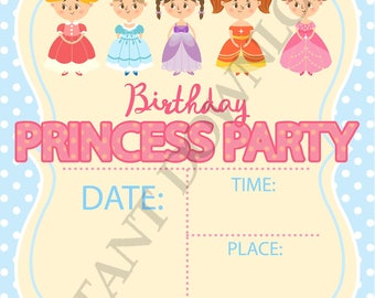Princess birthday party digital invitation, girls party supplies, print at home 5x7 INSTANT DOWNLOAD