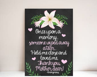 Thank You Mother Dear 8x10 Wall Art - DIY Print at home - Mother's Day Poem - Mom Wall Decor