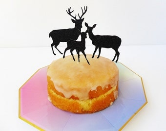 Deer Cake Toppers / Holiday Cake Decorations / Glitter Christmas Decorations / Cupcake Toppers / Reindeer Cake Decorations