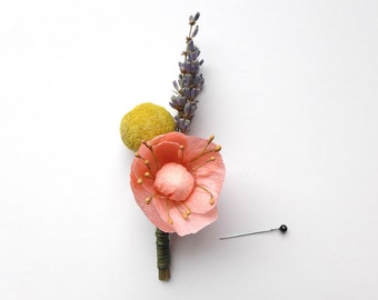 Blush Wedding Buttonhole / Billy Button Boutonniere / Paper Anemone / Dried Flower Buttonholes / Pink Wedding Decor / Mens Boutonniere