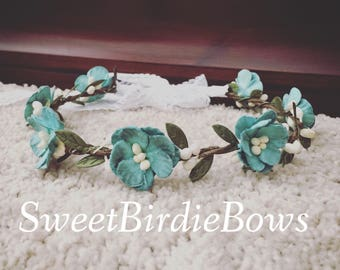 Teal green floral halo crown tie back m2m well dressed wolf green fairy