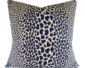 Indigo Blue Cheetah Pillow Cover - Kaufmann - Throw Pillow - Both Sides - 12x16, 12x20, 14x18, 14x24, 18x18, 20x20, 22x22, 24x24, 26x26