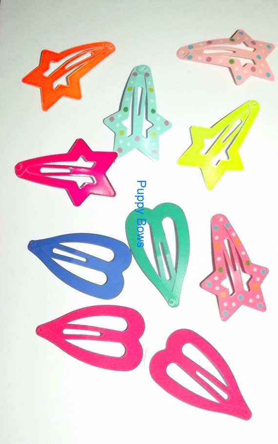 Puppy Bows ~10 Barrette snap clip  BIG DOG sample set boys or girls FREE bands! ~Usa seller