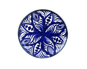 Vintage wall plate blue white Spain decorative wall hanging plate