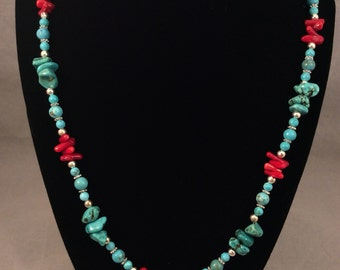 Turquoise and Red Bamboo Coral necklace set