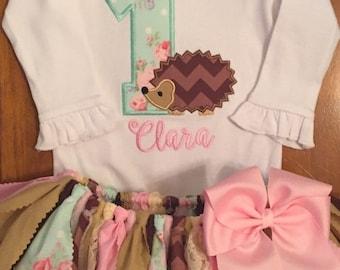 Pink, Aqua, Tan, and Brown Hedgehog Birthday Tutu Outfit