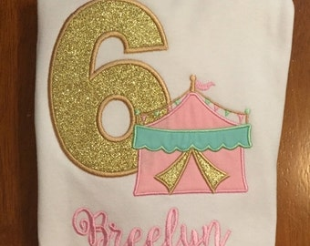 Pink, Mint, and Gold Circus Tent Birthday Shirt or Baby Bodysuit