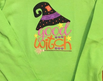 Lime Green Halloween Good Witch Embroidered Baby Bodysuit or Shirt