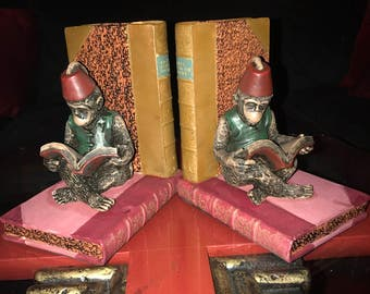 "Vintage Hand Painted Dezine Ceramic ""Reading Monkeys In Fez Hat"" Bookends"