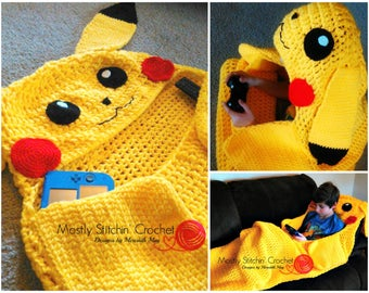 Cuddle-Up Pikachu Amigurumi Snuggle Blanket; CROCHET PATTERN; PDF