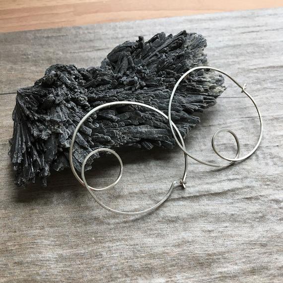Scribble Hoops: Recycled Argentium Sterling
