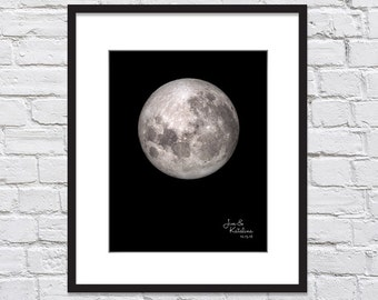 Moon Phase Wedding Gift Personalized Date/ Bridal Shower Gift/Gift from Groom to Bride/Bride to Groom Gift/Celestial Wedding Print- 8x10+