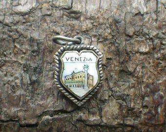 Silver Enamel Belgique Venezia Jesolo Coat Arms Shield Charm Pendant