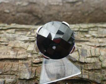 Stunning Sterling Silver Black Rhinestone Large Statement Ring