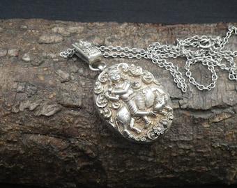 Antique Vintage Silver Indian Repousse Picture Locket Pendant