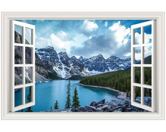 Mountains Lake Scenery Wall Decal Sticker Graphic Art Mural - 4 Sizes Available (More Options)