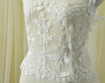 """1 yards Venice Lace Trim Ivory Tulle Alice Exquisite Floral Embroidery Wedding Bridal Hair Flower Headpiece 11.8"""" width"""