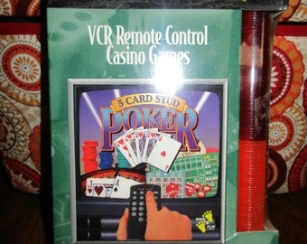 Vintage VCR Remote Control Casino Games 5 Card Stud and More