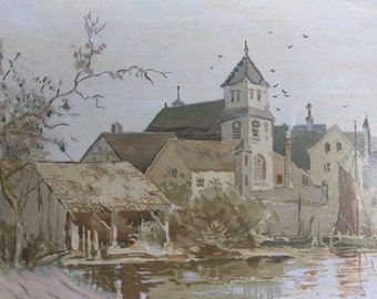 Old Vintage French Coastal Cityscape Landscape Painting La Rochelle Harbor