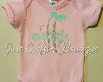 Initial with name and bow onesie / shirt