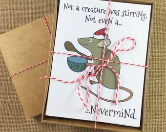 Pack of 10 Christmas Cards - Not a Creature Was Stirring, Not Even a...Nevermind