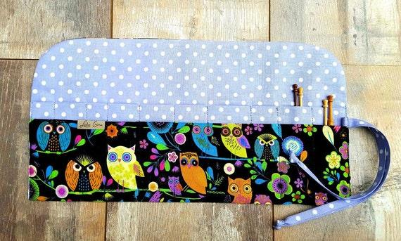 JAPANESE OWL CASE Lilac Polka Black Night Forest Knitting ...