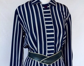 Blue and White Striped Belted Dress by  E. D. Michaels