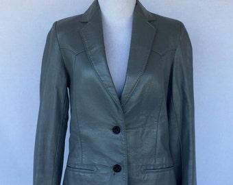 Gray Leather Blazer/Jacket-BY Reed Sportswear