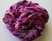 Sari Silk, Pink Purple Splash, Fair Trade, 5 Yards, OOAK Silk Canvas Series, Textile, Yarn, Ribbon, Silk Ribbon, Artwear Elements 134
