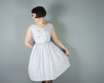 50s pastel blue and white STRIPE day dress with WRAP skirt - NAUTICAL sailor cotton day dress - xs / uk8 - Petite fit