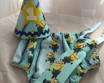 Baby Boy/ Toddler Minion Cake Smash Outfit  for First Birthday. Includes:  Party Hat, Tie and Diaper Cover.