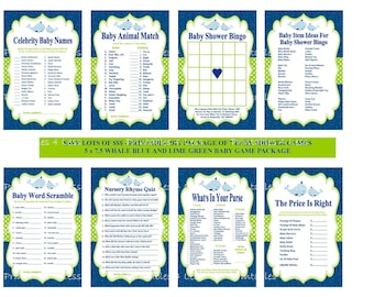 Blue Green Whale Baby Shower Game, Navy Whale Baby Game, Nautical Baby Game, Whale Theme Baby, Navy Baby, Navy Whale Game -Printables 4 Less