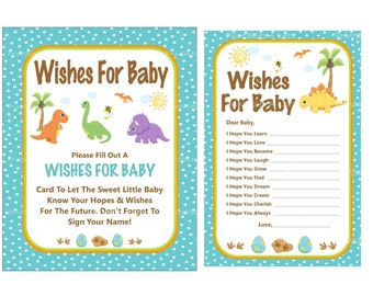 Dinosaur Wishes For Baby Cards, Dinosaur Baby Shower Wishes, Newborn Wishes, Printable Dinosaur Wishes For Baby Game -Printables 4 Less 0099