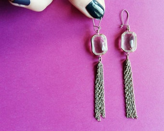 Earring dangling, glass and chains