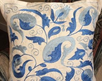suzani pillowcase Real Uzbek SUZANI embroidered in Nurata, Bukhara, Samarkand, Shakhrisabz.