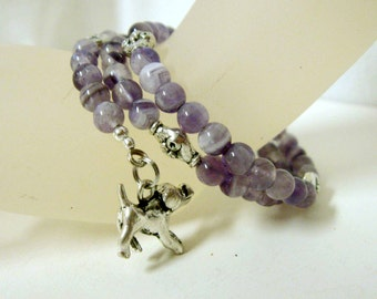 Cape amethyst memory wire bracelet with dog and bone charms - DWB11