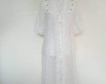 1960s Lace  Night Gown wedding perfect Lounging Apparel lingerie