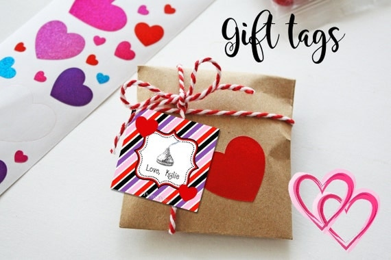 Valentine Gift Tags - Printable - Valentine's Tags - Fun Stripes - Hershey Kiss - Gift Tags