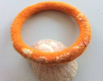Simple Felt Bracelet, Bright Orange Bracelet, Orange Bangle, Small/ Medium Women's Bracelet, Minimalist Textile Bracelet, Wool Felt Jewelry