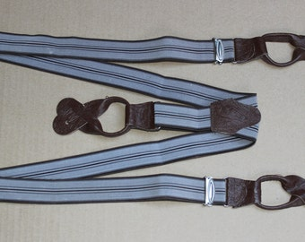 Vintage Suspenders Button Trouser Braces with Drop Ends NOS Brown
