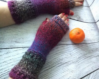 Ready to ship! Knit fingerless gloves, arm warmers, fingerless mitts, hand warmers, knit gloves, knit mittens, purple dark red green