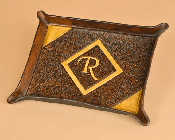 Hand Carved Leather Tray with Initial - Chancery - Vegetable Tanned Leather Valet