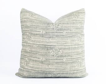 Gray Chinese Batik Tribal Linen Textile Pillow Cover Various Sizes