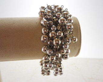 Vintage Silver Tone Beaded Cha Cha Stretch Bracelet