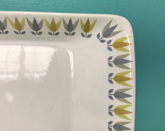 Vintage Gustavsberg Lotus Gul Large Serving Platter Dish Designed in Sweden by Stig Lindberg and Bibi Breger