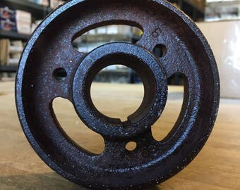 Cast Iron Metal Pulley Gear Wheel Antique Vintage Large Industrial Steampunk Base